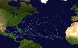 A map of the Atlantic Ocean depicting the tracks of 21 tropical cyclones.