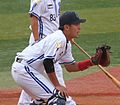 20111015 Tosiki Kurobane, catcher of the Yokohama BayStars, at Yokohama Stadium.jpg