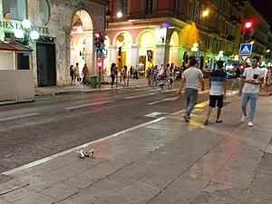 2016 Nice attack - A pair of shoes lie on the ground in the rush shortly after the attack