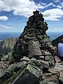 2017-07-26 12 11 32 Rock cairn on the summit of Mount Katahdin's Baxter Peak in Baxter State Park, Piscataquis County, Maine.jpg