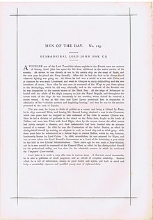 23 10 1875 Vanity Fair text for Admiral John Hay