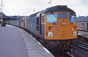 British Rail Class 26 - 26014 and 26008 ready to depart Inverness with a passenger train, September 1977