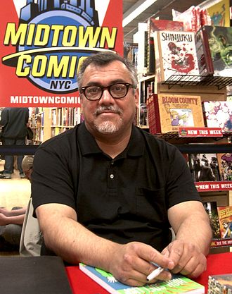 Gilbert Hernandez - Hernández at a signing for High Soft Lisp at Midtown Comics Times Square in Manhattan, April 24, 2010.