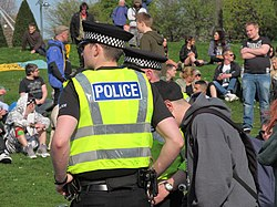 420 - Glasgow Green, Easter 2014 05 Police watching the crowd speaker