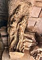 6th century amorous couple on pillar top looking below in Cave 3, Badami Hindu cave temple Karnataka 2.jpg