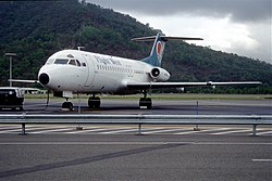73av - Flight West Airlines Fokker F28 Fellowship 4000, VH-EWC@CNS,02.10.1999 - Flickr - Aero Icarus.jpg