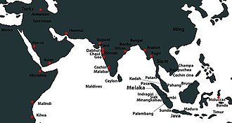 Malacca Sultanate - Map of 15th century Malacca and its contemporaries.
