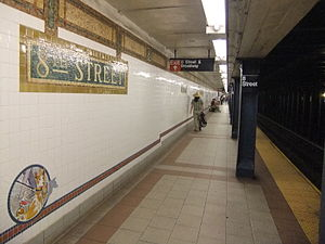 Eighth Street–New York University (BMT Broadway Line) - Platform for downtown trains