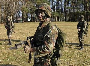Modern Irish Army uniform - Field dress with Rabintex helmet