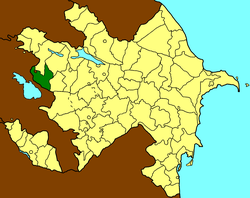 Map of Azerbaijan showing Gadabay raion (green)