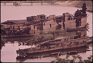 Curtis Creek - Abandoned boats in Curtis Creek, off the community of Curtis Bay, 1973