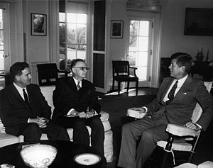 Sterling M. McMurrin - McMurrin (left) with Executive Secretary of the National Education Association William G. Carr (center) and President Kennedy, 1962