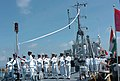 A Navy contingent lowering the Naval flag aboard INS Tillanchang during the decommissioning of the ship prior to its handing over to Maldives at Male Port on April 16, 2006.jpg