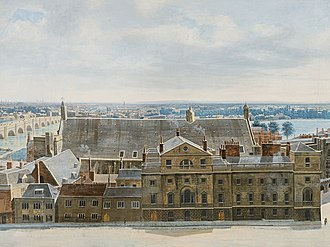Palace of Westminster - Detail from A Panoramic View of London, from the Tower of St. Margaret's Church, Westminster (1815) by Pierre Prévost, showing the Palace of Westminster