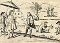 A Spaniard, a Criollo, Aetas, and a cockfight, detail from Carta Hydrographica y Chorographica de las Yslas Filipinas (1734).jpg