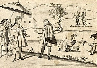 Gambling in the Philippines - In this illustration from the 1734 Carta Hydrographica y Chorographica de las Yslas Filipinas, two Filipino natives can be seen engrossed over a cockfight