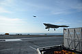 A U.S. Navy X-47B Unmanned Combat Air System demonstrator aircraft conducts a touch and go landing on the flight deck of the aircraft carrier USS George H.W. Bush (CVN 77) May 21, 2013, in the Atlantic Ocean 130521-N-YZ751-468.jpg
