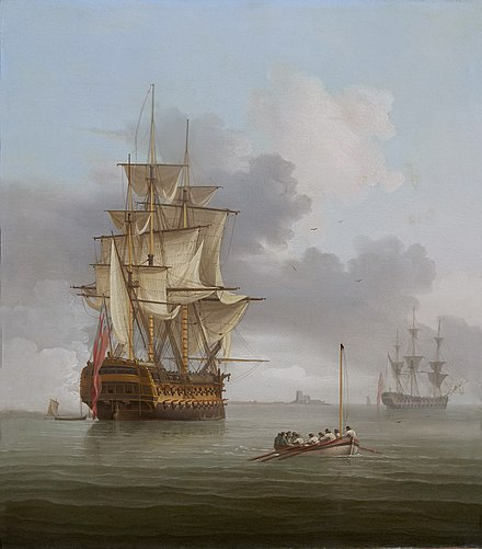 A becalmed man o'war firing a salute, 1797