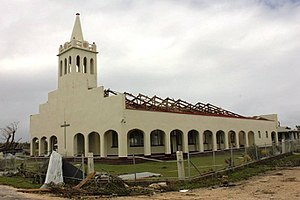 Lifuka - A church on Lifuka that had its roof torn off by Cyclone Ian in January 2014.