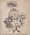 A man dressed in absurd protective clothing against the chol Wellcome V0011732.jpg