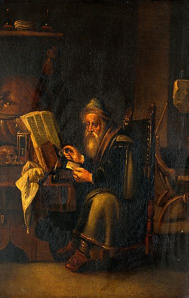File:A philosopher reading. Oil painting by a follower of David T Wellcome V0017298.jpg