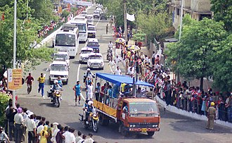 2004 Summer Olympics torch relay - A scene of Olympic Torch Relay 2004 in New Delhi, India on June 10, 2004