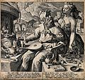 A young woman, probably Prudentia, warns an alchemist of the Wellcome V0025524.jpg