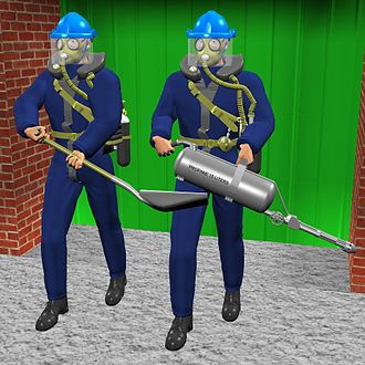 Siebe Gorman Salvus - CGI image. 2 workmen with Siebe Gorman Salvus rebreathers set off to clean up a building after fumigation.