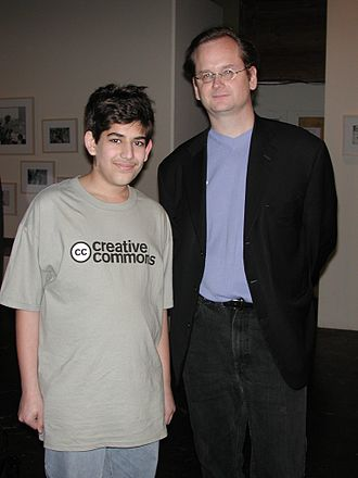 Aaron Swartz - Swartz in 2002 with Lawrence Lessig at the launch party for Creative Commons