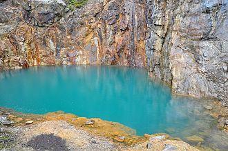 Baryte - Abandoned baryte mine shaft near Aberfeldy, Perthshire, Scotland