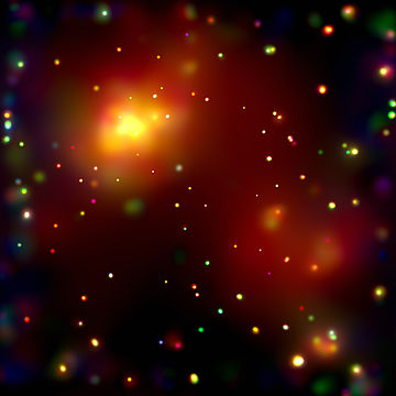 Chandra's image of the galaxy cluster Abell 2125 reveals a complex of several massive multimillion-degree-Celsius gas clouds in the process of merging. Abell 2125.jpg