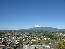 Looking across New Plymouth with Mount Taranaki in the distance in mid-July 2010