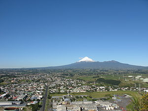 New Plymouth - Looking across New Plymouth with Mount Taranaki in the distance in mid-July 2010