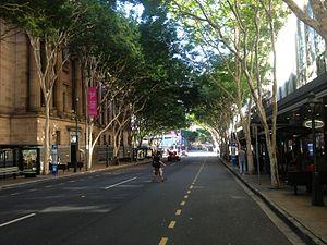 Adelaide Street, Brisbane - Adelaide Street with Brisbane City Hall on the left.