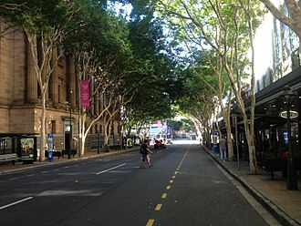 Adelaide Street, Brisbane - Adelaide Street with Brisbane City Hall on the left.