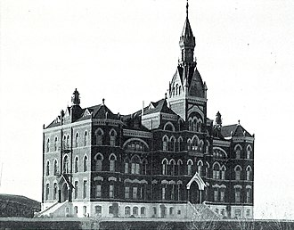 University of Idaho - The original Administration building (1899) was destroyed by fire in 1906. It was replaced in 1909 by the existing brick Collegiate Gothic structure.