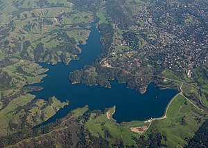Briones Reservoir - Image: Aerial view of Briones Reservoir in California