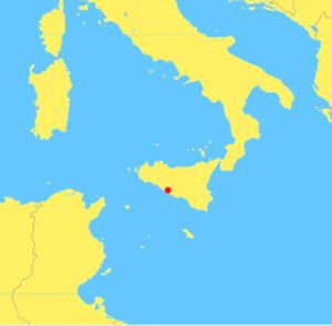 Battle of Agrigentum - Map of central Mediterranean Sea, showing location of Agrigentum (modern Agrigento)