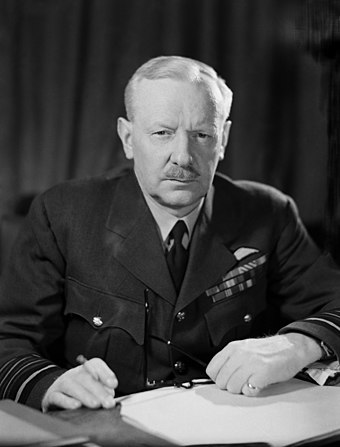 "Air Chief Marshal Arthur Harris, head of RAF Bomber Command, strongly objected to Churchill's comparison of the raid to an ""act of terror,"" a comment Churchill withdrew in the face of Harris's protest. Air Chief Marshal Sir Arthur Harris.jpg"