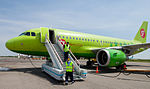 Airbus of S7 Airlines and mobile open gangway at Gumrak Airport.jpg