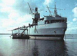 USS Alamogordo (ARDM-2) - USS Alamogordo (ARDM-2) at anchor on the Cooper River, Charleston, SC, date unknown.