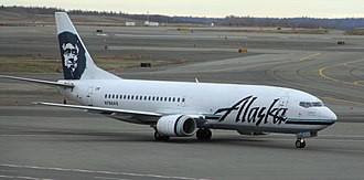 Alaska Airlines - An Alaska Airlines Boeing 737-400 Combi aircraft at Ted Stevens Anchorage International Airport