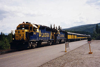 A train pulls into the Denali Station in July, 1998.