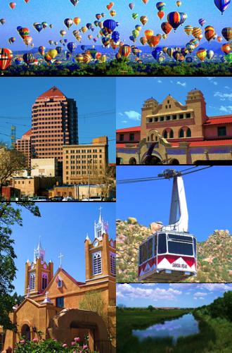 Albuquerque, New Mexico - Balloon Fiesta,  Downtown Albuquerque Alvarado Center, Sandia Peak Tramway San Felipe de Neri Church, Rio Grande Wetlands