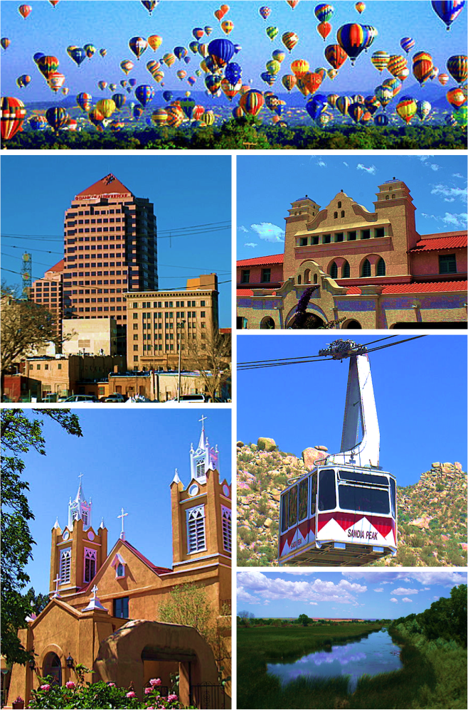 Balloon Fiesta,  Downtown AlbuquerqueAlvarado Center, Sandia Peak TramwaySan Felipe de Neri Church, Rio Grande Wetlands