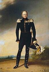 Pictura în ulei a lui Alexandru I al Rusiei în uniformă ceremonială completă ținându-și pălăria armată în mână