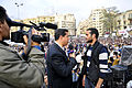 Alhurra anchor interviews protester in Tahrir Square, February 7, 2011.jpg