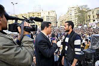 Alhurra - Alhurra anchor interviews Egyptian protester (Ahmed Douma) in Tahrir Square, 7 February 2011