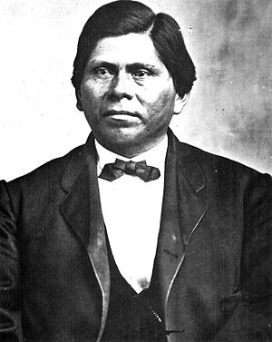 Treaty with Choctaws and Chickasaws - Allen Wright was one of the Commissioners for the Choctaw Nation. Wright, a scholar who compiled a Choctaw dictionary, is credited with creating the state name Red People or Oklahoma.