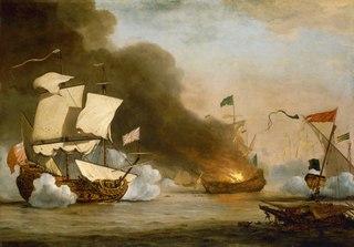 An English Ship in Action with Barbary Corsairs, circa 1680